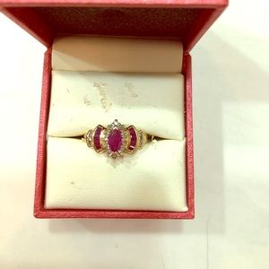 10k Yellow Gold Ruby With Accent Diamonds